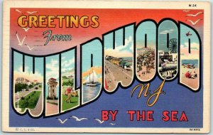 WILDWOOD BY THE SEA, New Jersey Large Letter Postcard CURTEICH Linen 1940 Cancel