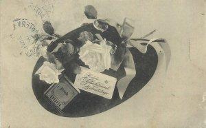 Postcard Greetings flowers black white rose germany