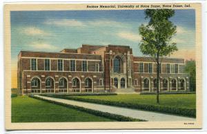 Rockne Memorial University Notre Dame Indiana linen postcard