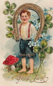 GOOD LUCK , Child holding Horseshoe , Shamrock & Mushroom , 00-10s