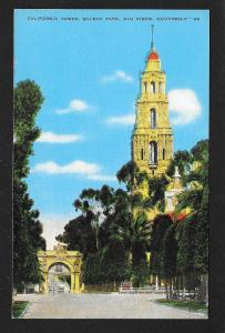 California Tower Balboa Park San Diego CA unused c1930s