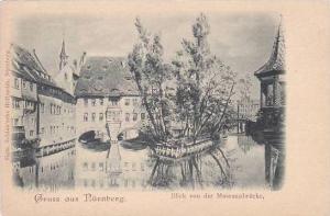 Germany Nuernberg Blick von der museumsbruecke Gruss Aus