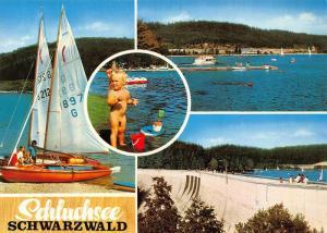 Schluchsee Schwarzwald Lake Boats Promenade Barrage Postcard