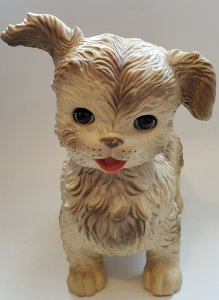 1964 Rubber Squeaking & Blinking Eyes Soft Rubber Toy Dog The Edward Mobley Co.