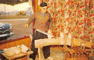 Wooden Shoe Carver - Holland, Michigan c1950s Vintage Postcard