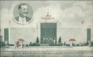1936 Great Lakes Expo Cleveland OH Ohio Building Governor Davey Postcard