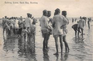 Bombay British India~Back Bay Bathing Scene~Men Wading~1905 B&W Postcard