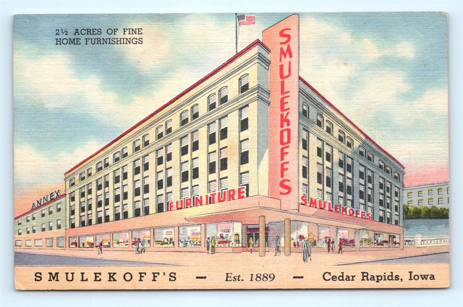 Postcard Ia Cedar Rapids Smulekoff S Furniture Store Vintage Linen