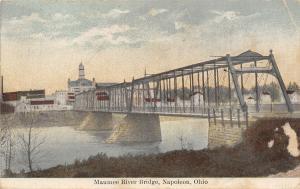 Napoleon Ohio~Maumee River Thru Truss Bridge~Church Ladies Aid Society~1912