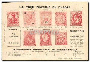 Old Postcard The postal charges in Europe Germania Paus Hungary Netherlands B...