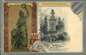 Oberammergau Germany - Beautiful Ornate Border Bavaria Statue Postcard