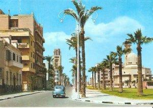 MIN2613 egypt port said boulevard mosque church palmtrees lantern religion islam