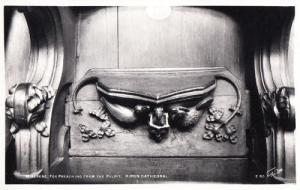 Fox Animal Preaching Pulpit Antique Statue Rare Ripon Church Sculpture Postcard