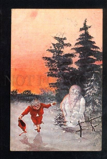 036674 GNOME & SNOWMAN. Elf. By THALER. Vintage PC