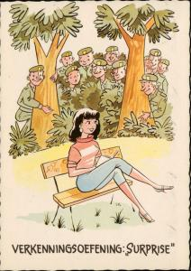 military soldiers soldat woman on a bench illustration comic