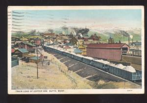 BUTTE MONTANA TRAIN LOAD OF COPPER ORE MINING VINTAGE POSTCARD RAILROAD