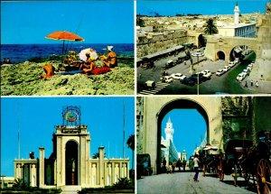 CI01292 libya tripoli mediteraneean sea beach umbrella old cars mosque minaret
