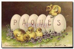 Old Postcard Fantasy Flowers Easter Chicks