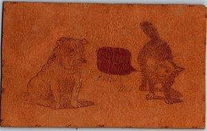 Leather Cat and Dog Talking Vintage Postcard U06