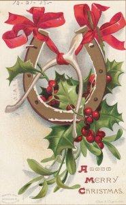 CHRISTMAS ; Horseshoe & Holly , 1908 ; CLAPSADDLE
