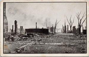 1914 Fire Salem MA Massachusetts Unused Hancock Press Postcard G2