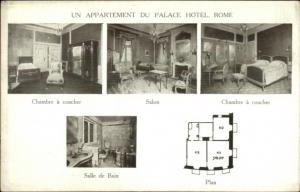 Rome Italy Un Appartement Du Palace Hotel c1910 Advertising Postcard