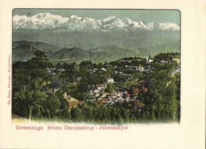 british india, DARJEELING, Himalayas, Panorama (1899) Court Card
