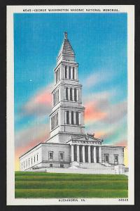 Washington Masonic Memorial Alexandria VA unused c1940's