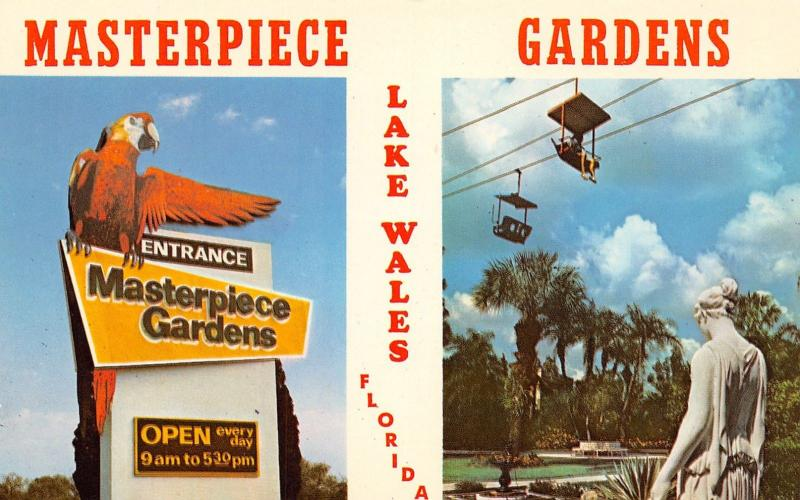 Lake Wales Florida~Masterpiece Gardens Chair Lift~Parrot Entrance Sign~1975 PC