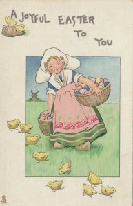 EASTER, Dutch girl feeding chicks carrying basket of colorful eggs, 00-10s; TUCK