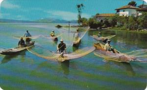 Mexico MIchoacan Lago de Patzcuaro Butterfly Net Fishermen From Janitzio Island