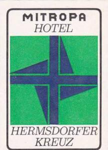 GERMANY MITROPA HOTEL HERMSDORFER KREUZ VINTAGE LUGGAGE LABEL
