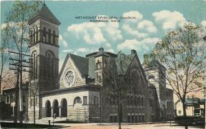 Norwalk Ohio~Methodist Episcopal Church~Neighborhood Homes~1917 Postcard