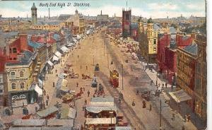 North End High St. Stockton, Tram, Carriages, commerce, animated panorama 1906