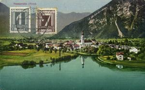austria, NASSEREITH, Tyrol Tirol, Panorama with Church (1925) Postcard Stamps