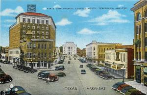Texarkana TX AR~State Line Avenue~Be Fast Tailor~Post Office Cafe~Texarkana~1940