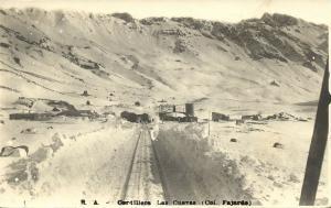 argentina, LAS CUEVAS, Cordillera, Railway Station (1910s) RPPC Postcard