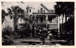 JACKSONVILLE FL WHITEHALL GUEST HOUSE 1533 MAIN ST B&W PHOTO POSTCARD c1950s
