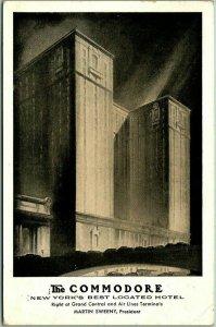 New York City Postcard COMMODORE HOTEL Artist's Street View 1943 Cancel Lumitone