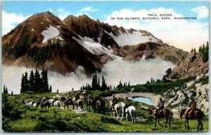 Olympic National Park Washington Postcard Trail Riders Horses KROPP Linen 1944