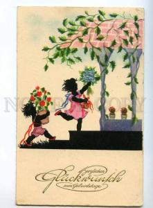 240432 BIRTHDAY Kids SILHOUETTE Flowers CACTUS Vintage PC