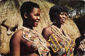 African Nude Postcard Zulu Girls Natal Postal Used Unknown