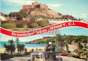 Modern Postcard Greetings From Jersey Mont Orgueil Castle St Brelades Gardens