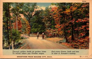 Michigan Greetings From Rogers City 1938 Curteich