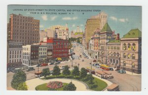 P2122, vintage postcard buses old cars birds eye view upper state albany ny