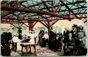 1910s Atlantic City New Jersey Postcard CRAIG HALL Roof Promenade / Arbor Scene