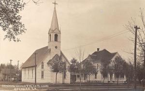 Spencer Iowa~Catholic Church~Priest's House~Rectory~Homes Behind~c1912 RPPC