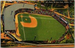 1940s Atlanta, GA Postcard PONCE DE LEON PARK Crackers Baseball Stadium Linen