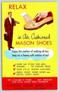 Chippewa Falls Wisconsin~Mason Shoe Mfg Co~1950s Advertising Postcard
