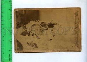 242376 RUSSIA Child death in coffin Vintage cabinet photo